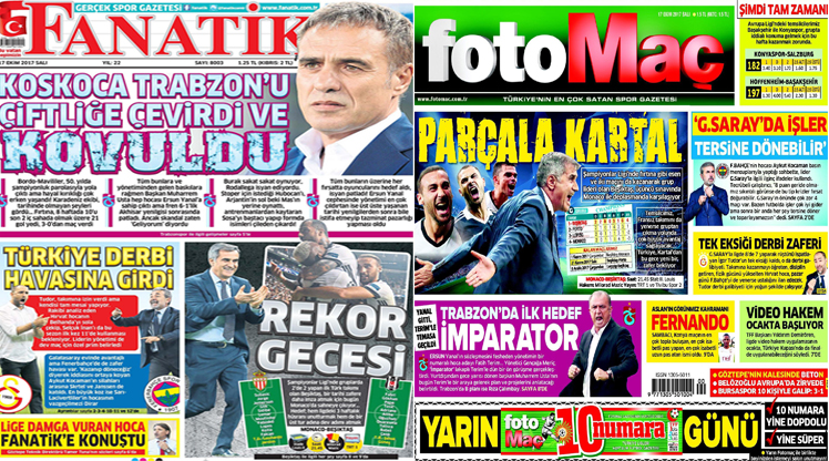 17 Ekim 2017 gazete manşetleri