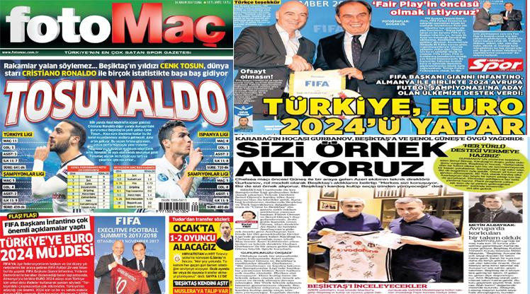 24 Kasım 2017 gazete manşetleri