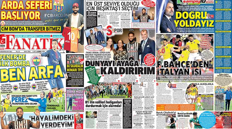 8 Ağustos 2017 gazete manşetleri