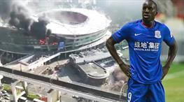 Çin'de büyük panik! Demba Ba'nın stadı yandı...